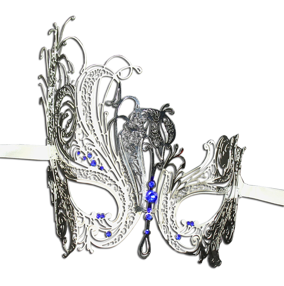 SILVER Series Swan Metal Filigree Laser Cut Venetian Masquerade Mask - Luxury Mask - 4