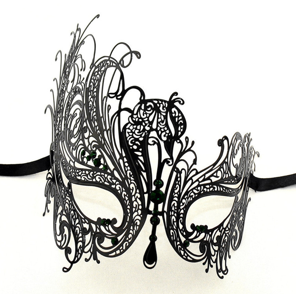 BLACK Series Swan Metal Filigree Laser Cut Womens Masquerade Mask - Luxury Mask - 7
