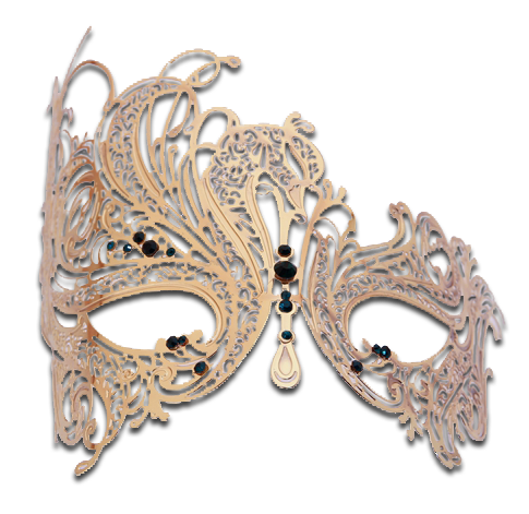 Gold Series Swan Metal Filigree Laser Cut Venetian Masquerade Mask - Luxury Mask - 7