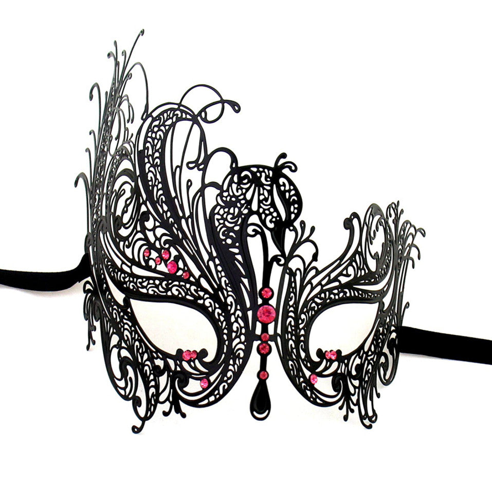 BLACK Series Swan Metal Filigree Laser Cut Womens Masquerade Mask - Luxury Mask - 5