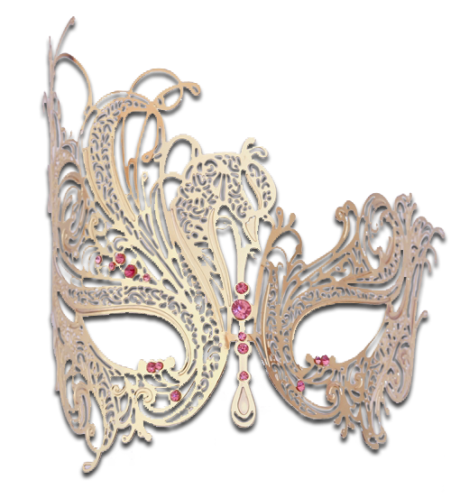 Gold Series Swan Metal Filigree Laser Cut Venetian Masquerade Mask - Luxury Mask - 6