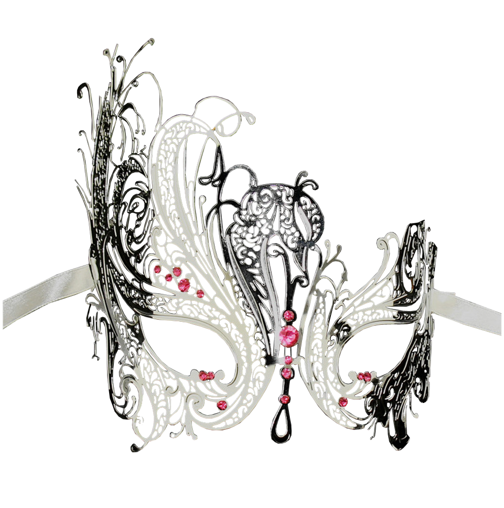 SILVER Series Swan Metal Filigree Laser Cut Venetian Masquerade Mask - Luxury Mask - 6