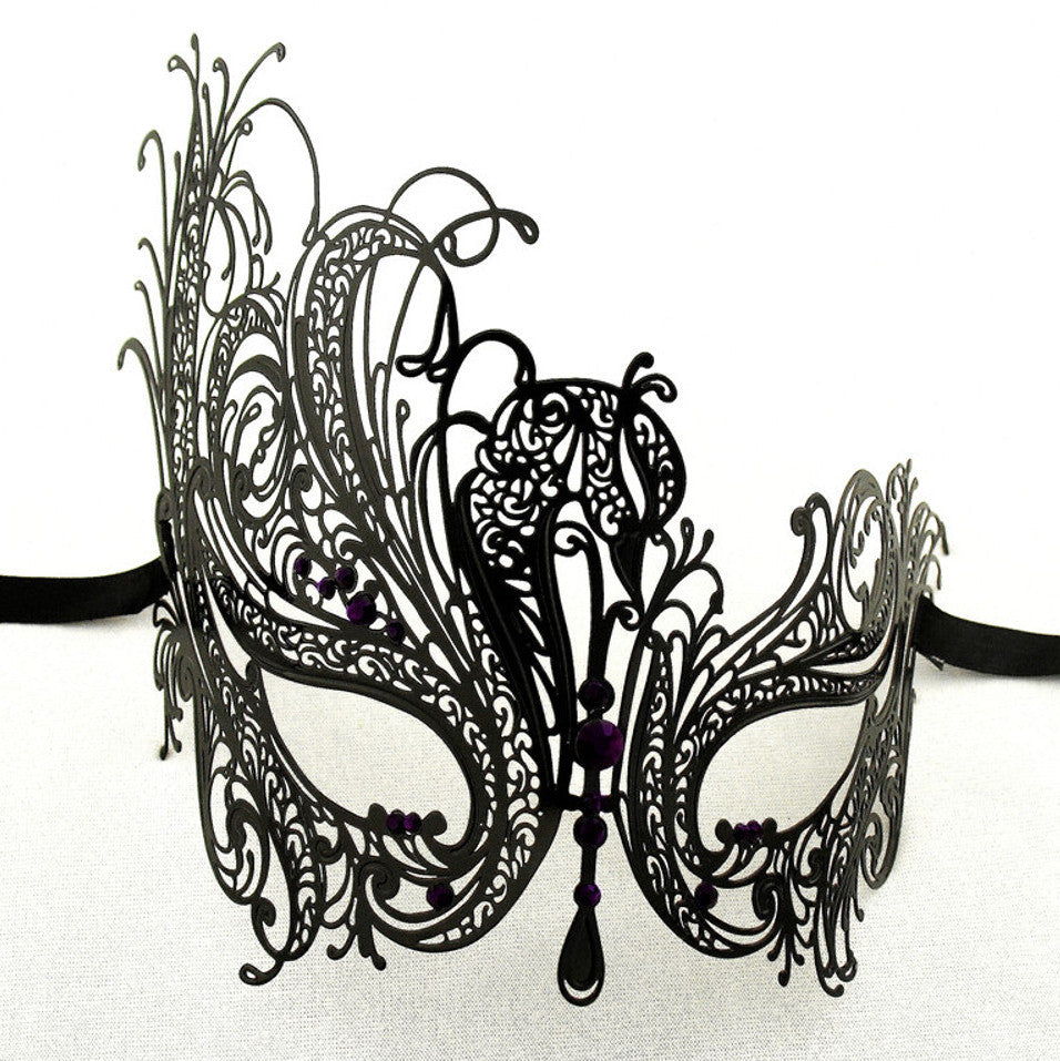 BLACK Series Swan Metal Filigree Laser Cut Womens Masquerade Mask - Luxury Mask - 6