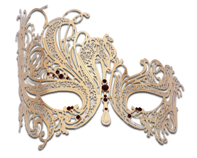 Gold Series Swan Metal Filigree Laser Cut Venetian Masquerade Mask - Luxury Mask - 5
