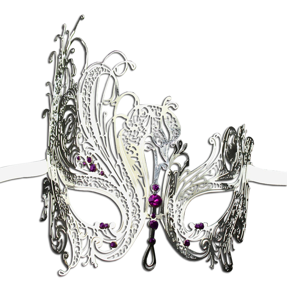 SILVER Series Swan Metal Filigree Laser Cut Venetian Masquerade Mask - Luxury Mask - 5