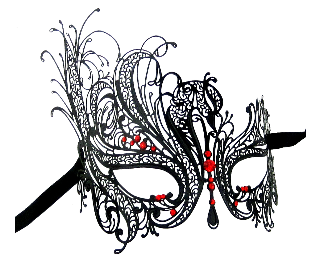 BLACK Series Swan Metal Filigree Laser Cut Womens Masquerade Mask - Luxury Mask - 3