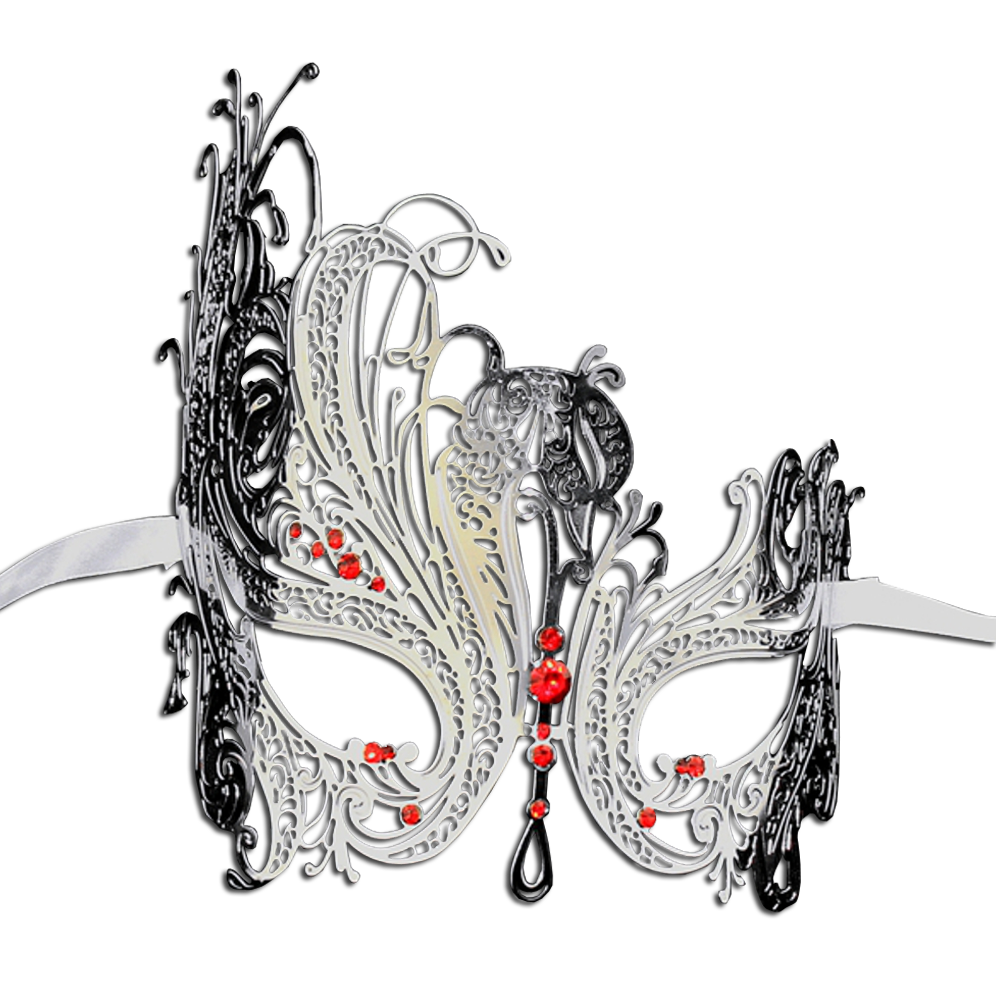 SILVER Series Swan Metal Filigree Laser Cut Venetian Masquerade Mask - Luxury Mask - 3