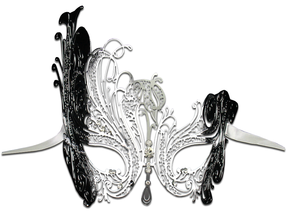 SILVER Series Swan Metal Filigree Laser Cut Venetian Masquerade Mask - Luxury Mask - 2
