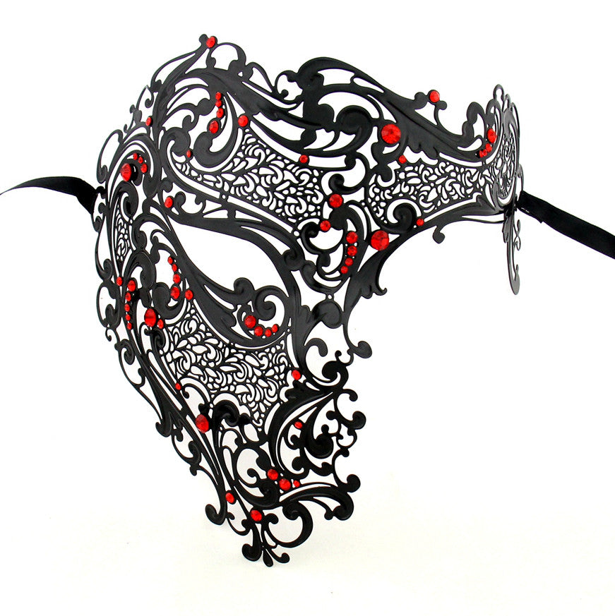 BLACK Series Men's Signature Phantom Of The Opera Half Face Masquerade Mask - Luxury Mask - 3