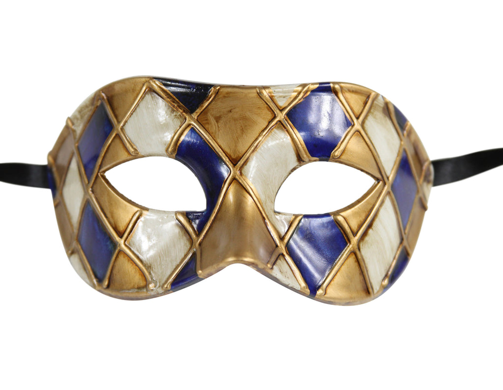 CHECKERED Multi Color Vintage Design Masquerade Mask - Luxury Mask - 3
