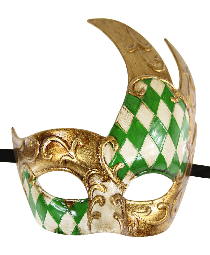 GOLD Series Men's Vintage Design Checkered Masquerade Mask - Luxury Mask - 5