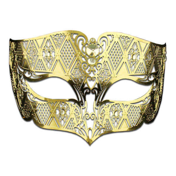 GOLD Series Diamond Design Laser Cut Venetian Masquerade Mask - Luxury Mask - 1