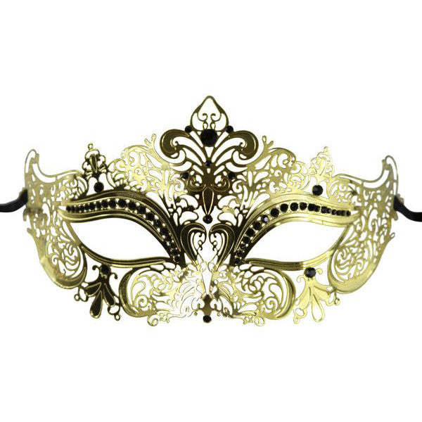 GOLD Series Women's Laser Cut Metal Venetian Masquerade Crown Mask - Luxury Mask - 1