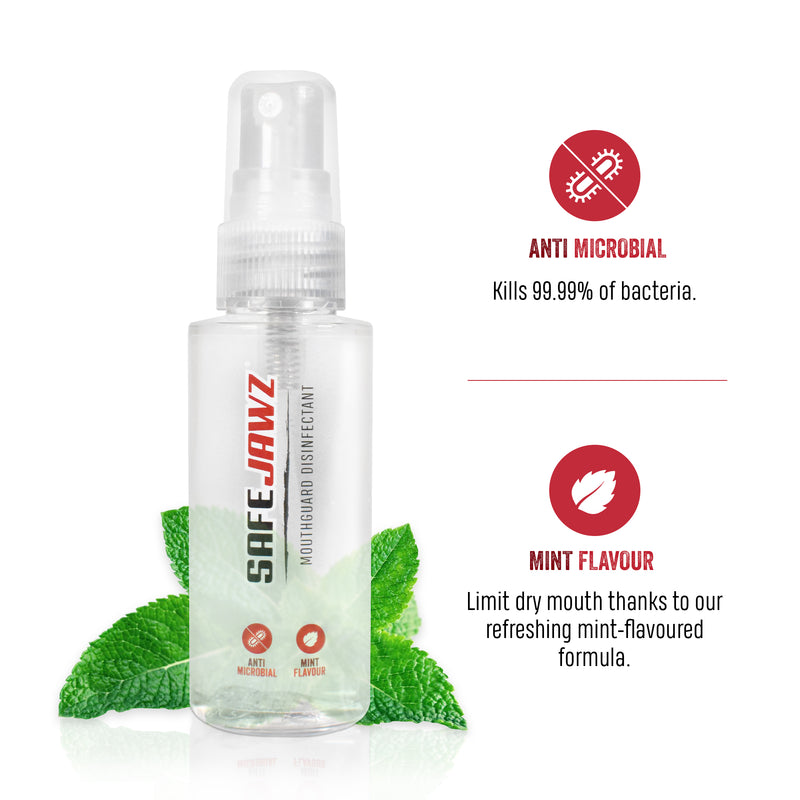 SAFEJAWZ Mouthguard Disinfectant Spray. Mint Flavoured, Anti-Microbial Gum Shield Cleaner. 50ml.