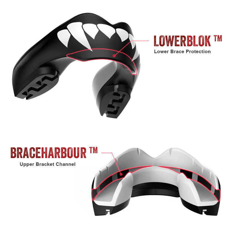 SAFEJAWZ® Ortho Series Self-Fit 'Fangz' Mouthguard for Braces.