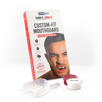 SAFEJAWZ® Popular Design Custom-fit Mouthguard - White SAFEJAWZ®Logo - SAFEJAWZ gum shield