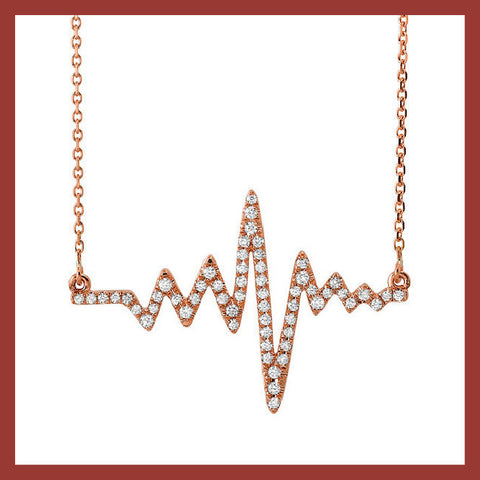Diamond Heartbeat Necklace - Rose, Yellow or White Gold