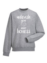 Lioness Sweatshirt Light Grey - UNLEASH YOUR INNER LIONESS