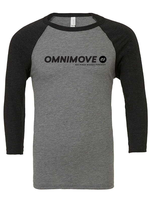 OmniMove Unisex triblend ¾ sleeve baseball t-shirt