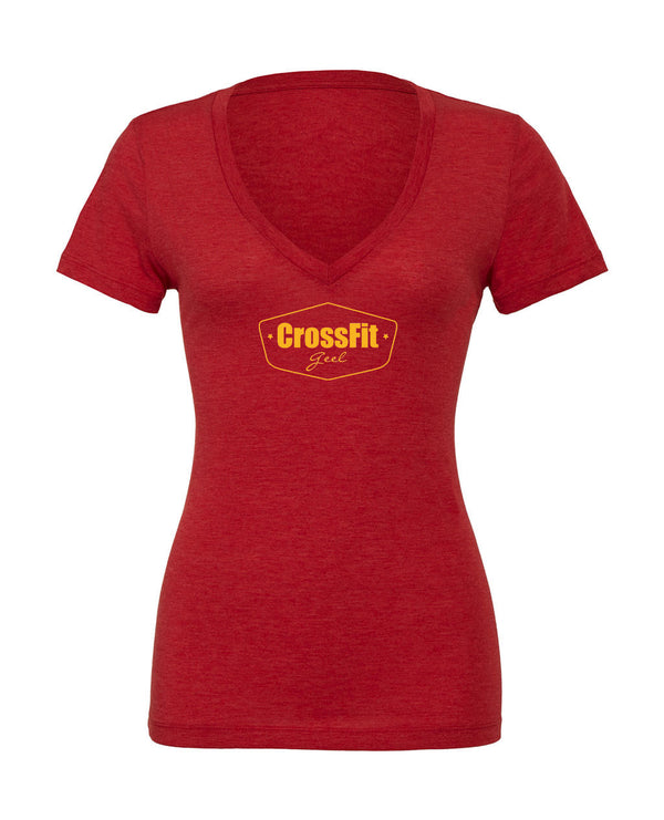 Crossfit Geel Ladies Deep V-neck T-shirt