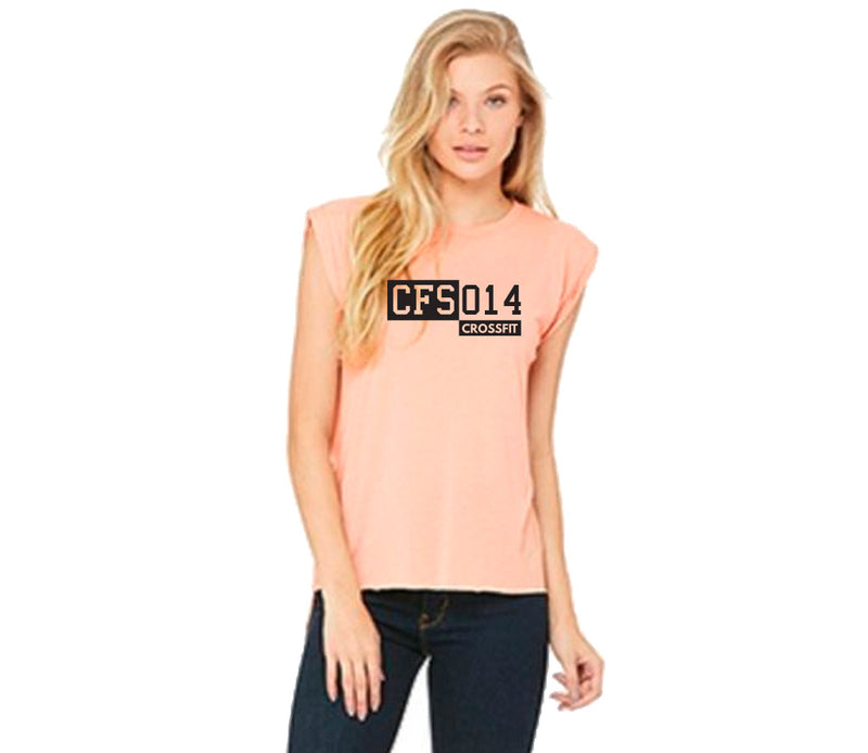Women's muscle tee - rolled cuff