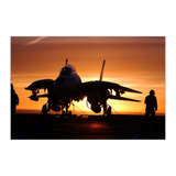 F-14 Tomcat On Carrier Deck At Sunset Poster