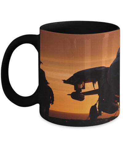 F-14 Tomcat On Carrier Deck At Sunset Mug