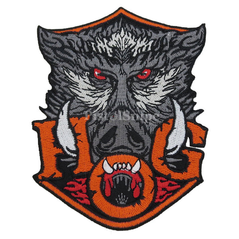 Wild Boar Head Motorcycle Rider Vest Patch For Hog Hunters