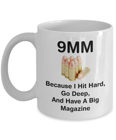 9mm Hit Hard Go Deep Big Magazine Mug