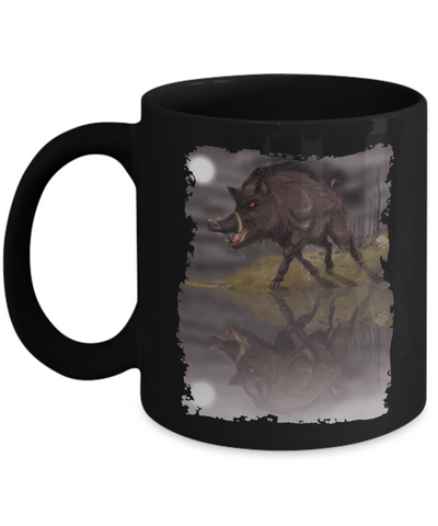 Wild Boar In The Moonlight Mug