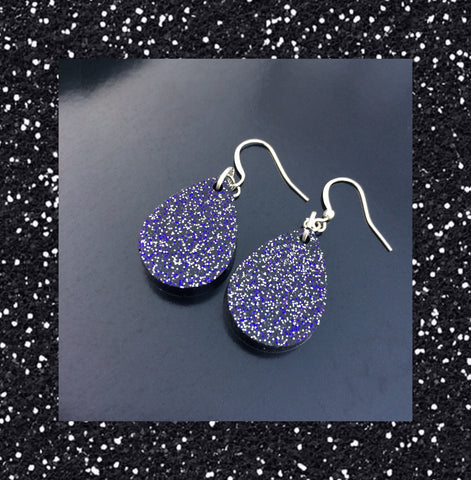 Tear Drop Earrings - Black, Silver, and Purple