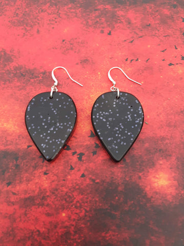 Large Tear Drop Earrings - Black