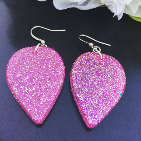 Large Tear Drop Earrings - Pink