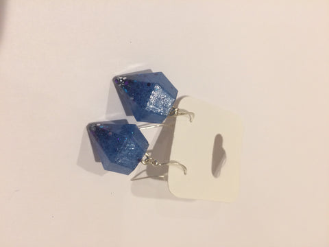 Diamond Shaped Earrings - Blue with Silver and Purple