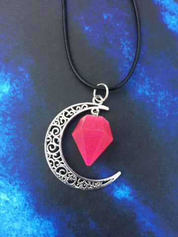 Crescent Moon Necklace - Pink
