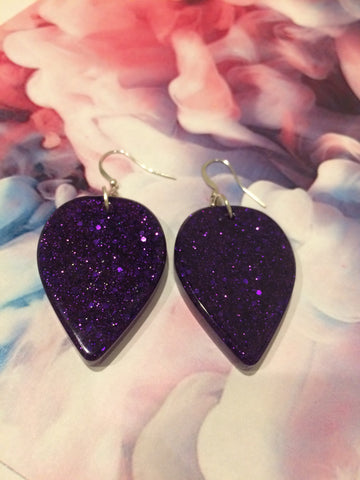 Large Tear Drop Earrings - Purple