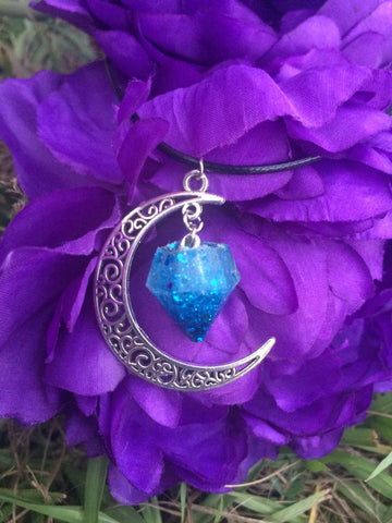 Crescent Moon Necklace - Blue