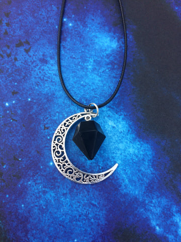 Crescent Moon Necklace - Black