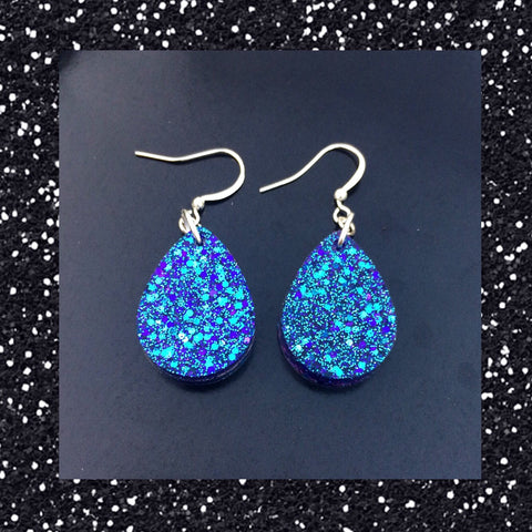 Tear Drop Earrings - Purple and Blue
