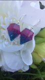 Diamond Shaped Earrings - Pink and Blue