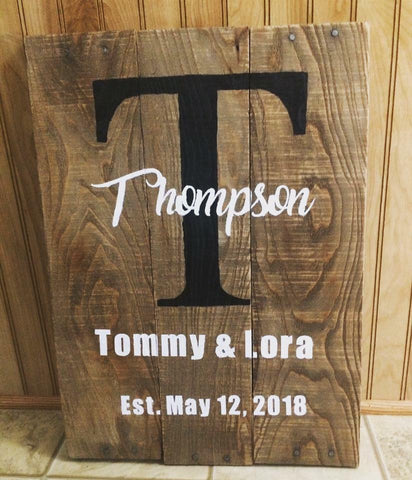 Wooden Sign - Personalized Last Name