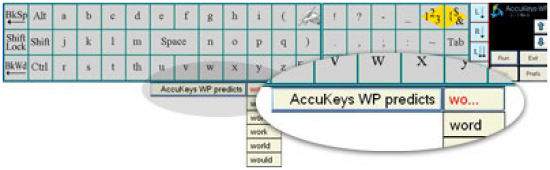 word prediction within AccuKeys