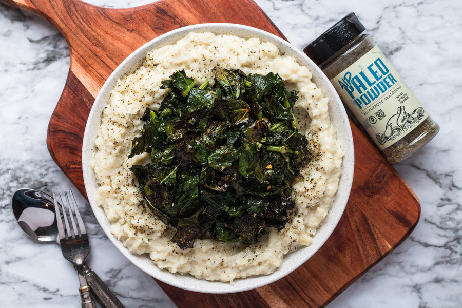 Creamy Cauliflower and Parsnip Puree with Crispy Kale