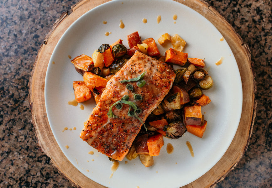Heart Healthy Paleo Baked Salmon Sheetpan Dinner