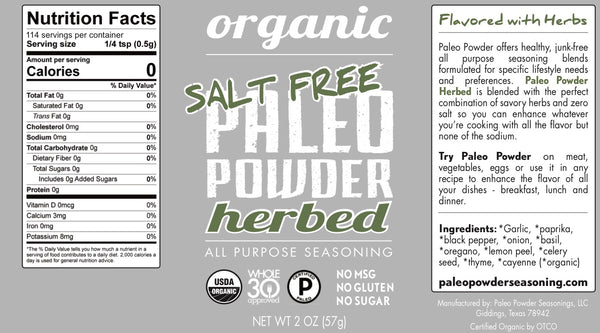 Organic Paleo Powder Herbed Salt Free All Purpose Seasoning