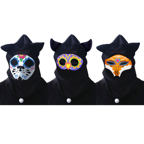 See Through Sugar Skull Animal Hoods