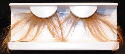 Eyelashes: Brown Feather Tails on Black w/ Adhesive