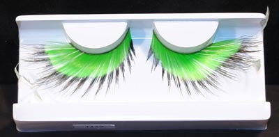 Eyelashes: Green & Black with Feather Accents , Adhesive