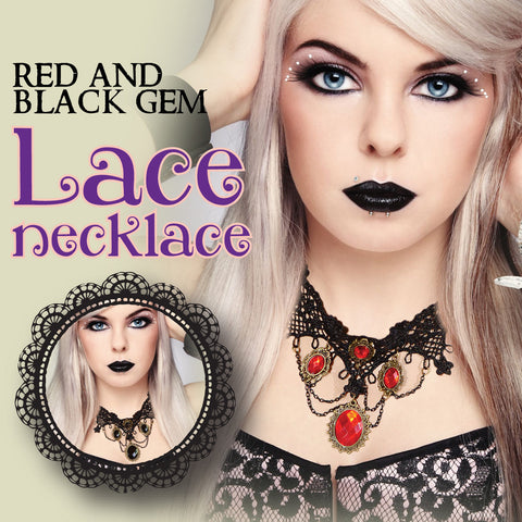 Red or Black Gem Lace Necklace