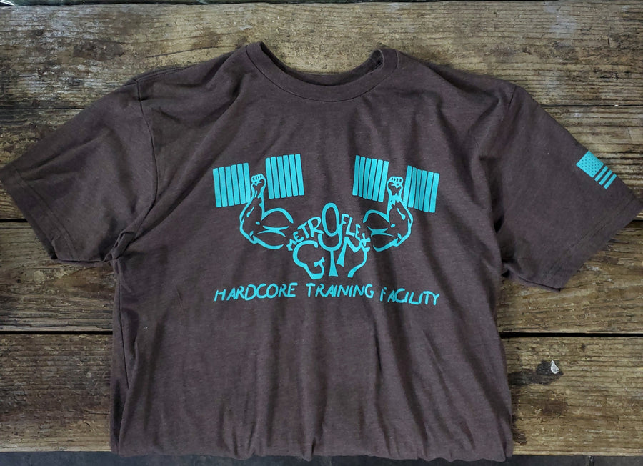 Metroflex Gym Hardcore Training Facility T-shirt | Brown with Aqua | Metroflex Gym